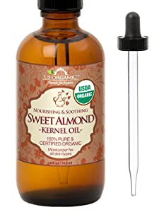 New_US Organic Sweet Almond Kernel Oil, USDA Certified Organic,100% Pure & Natural, Cold Pressed Virgin, Unrefined in Amber Glass Bottle w/Glass Eyedropper for Easy Application (4 oz (115 ml))