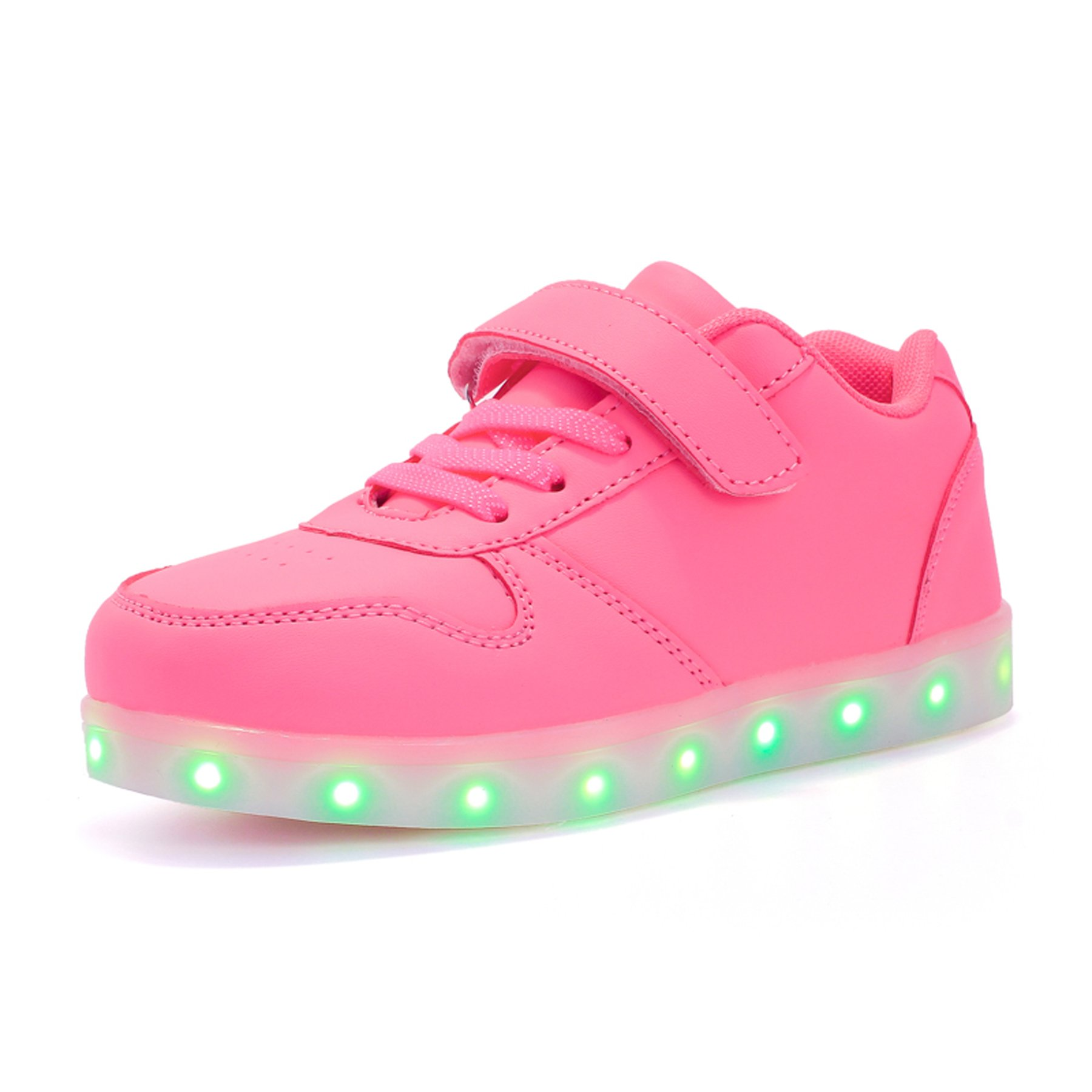 Voovix Kids Led Light up Shoes Flashing Low-top Sneakers for Boys and Girls Child Unisex(Pink,US9.5/CN27)