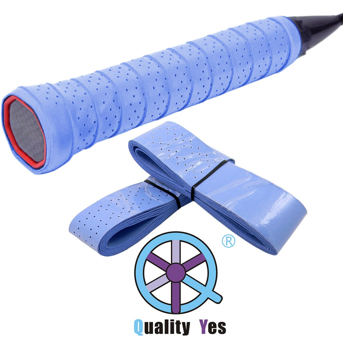 QY 2Pack Widened Perforated Super Absorbent Tennis Racket Overgrip Anti Slip Badminton Racket Tape Wrap Table Tennis Racket Tape, Purple Color