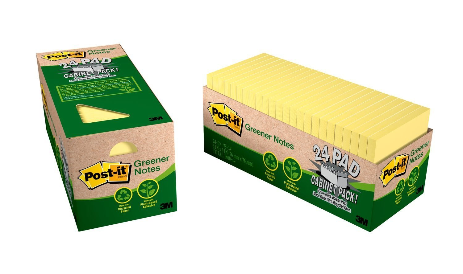 Post-it Greener Notes, America's #1 Favorite Sticky Note, 3 x 3-Inches, Canary Yellow, 24-Pads/Cabinet Pack