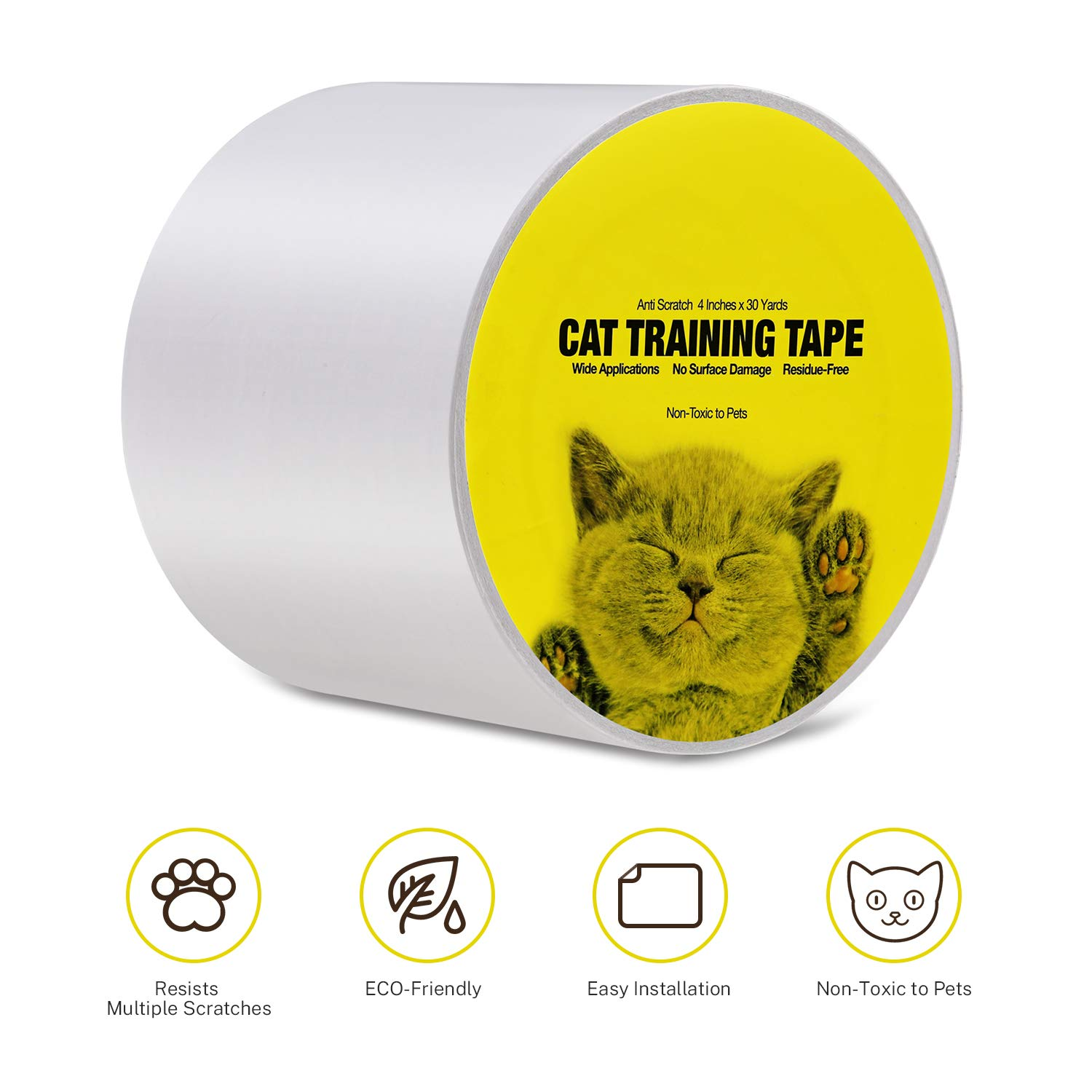 Kohree Anti Cat Scratch Tapes, 33% Wider Furniture Protector Cat Training Tape from Cats, Anti Scratch Pads for Furniture,Curtain, Carpet, 4 Inches x 30 Yards by Kohree
