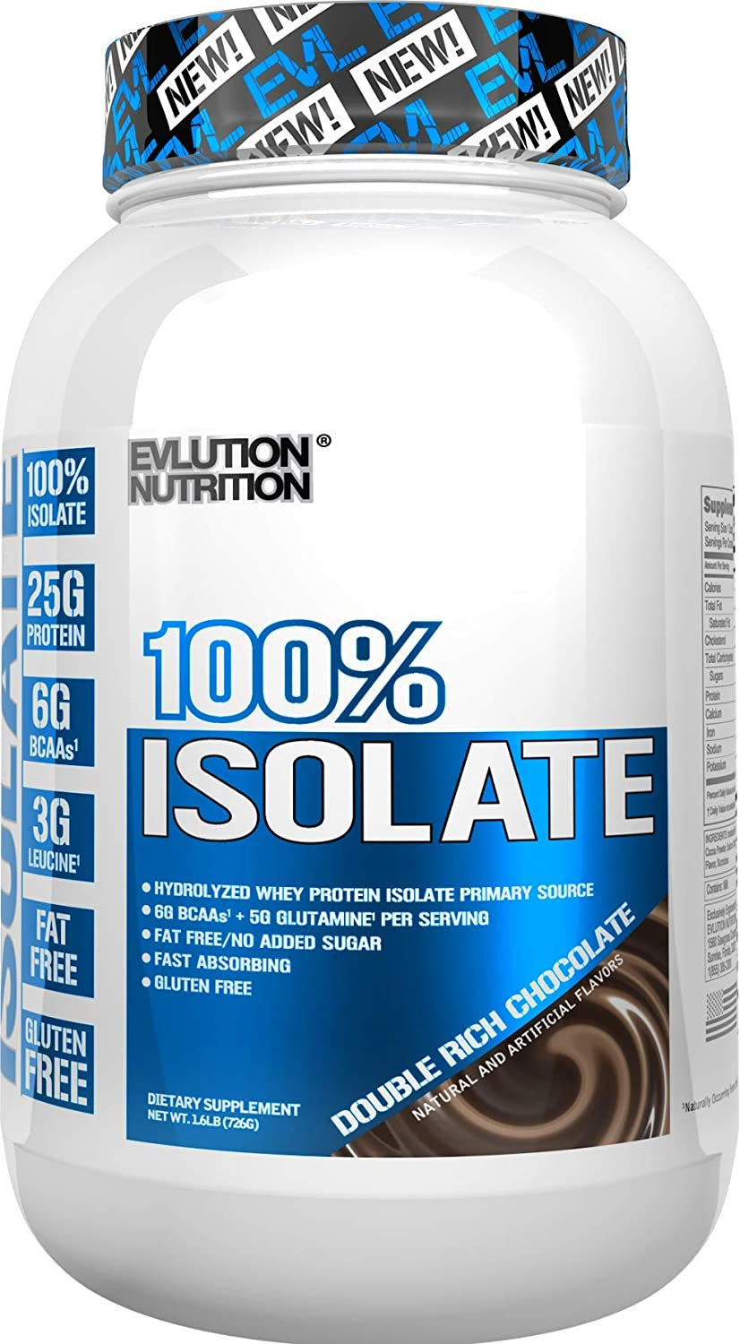 Evlution Nutrition 100 Isolate, Hydrolyzed Whey Isolate Protein Powder, 25 G of Fast Absorbing Protein, No Sugar Added, Low-Carb, Gluten-Free Double Rich Chocolate, 1.6 LB