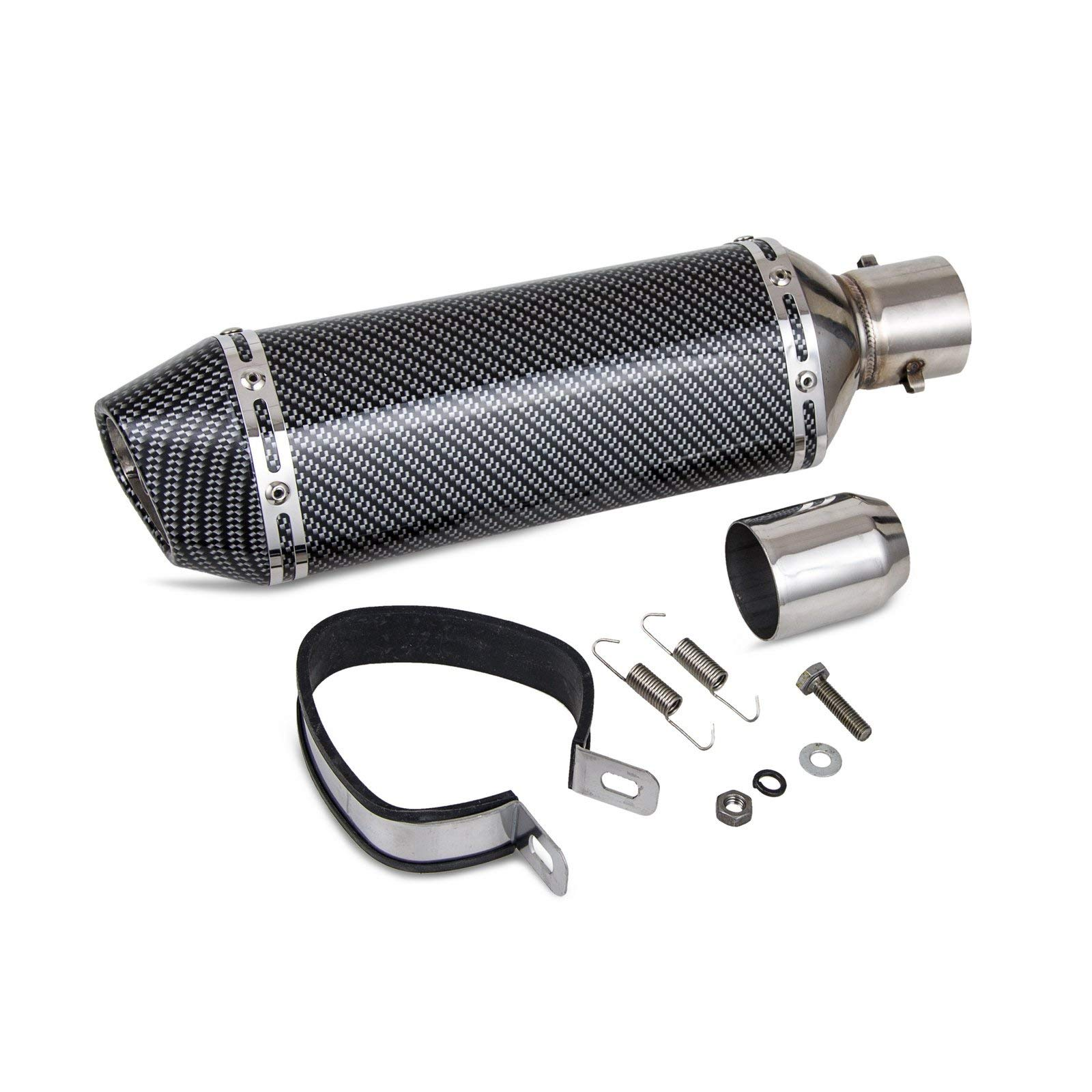 NICECNC Carbon Fiber Painted 1.5-2''Inlet Exhaust Muffler with Removable DB Killer for Street/Sport Motorcycles and Scooters with 38-51mm Diameter Exhaust Pipes by NICECNC