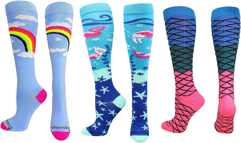 Rainbow Mermaid Cat Socks Gift Pack (Rainbow Mermaid Pack, Medium)