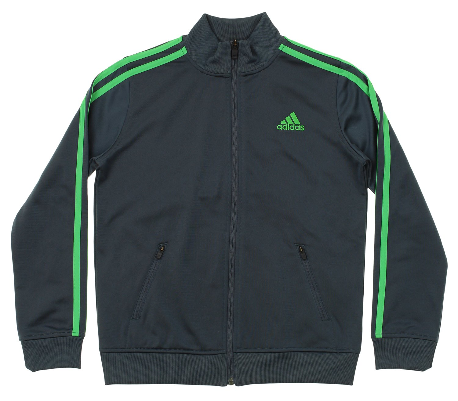 adidas Youth Fleece Lined Track Jacket, Grey Lime