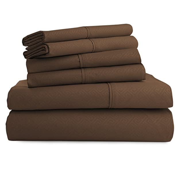 Luxor Linens Hotel Quality Metropolis 100% Microfiber Greek Key 6-Piece Sheet Set - Luxurious, Easy Care, Wrinkle Resistant - 6 Colors & 5 Sizes Available - Queen - Chocolate