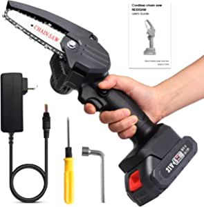 LByzHan Mini Chainsaw 4-Inch 21V Portable Convertible Electric Cordless Chain Saw with Brushless Motor, Handheld 1.54 lbs Pruning Shears Chainsaw for Tree Branch Wood Cutting (Black)