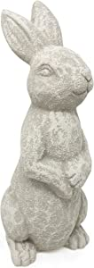 Elly Décor 14 Inch Tall Standing Sculpture Ceramic Garden Outdoor and Lawn décor, Rabbit Bunny Statue, White