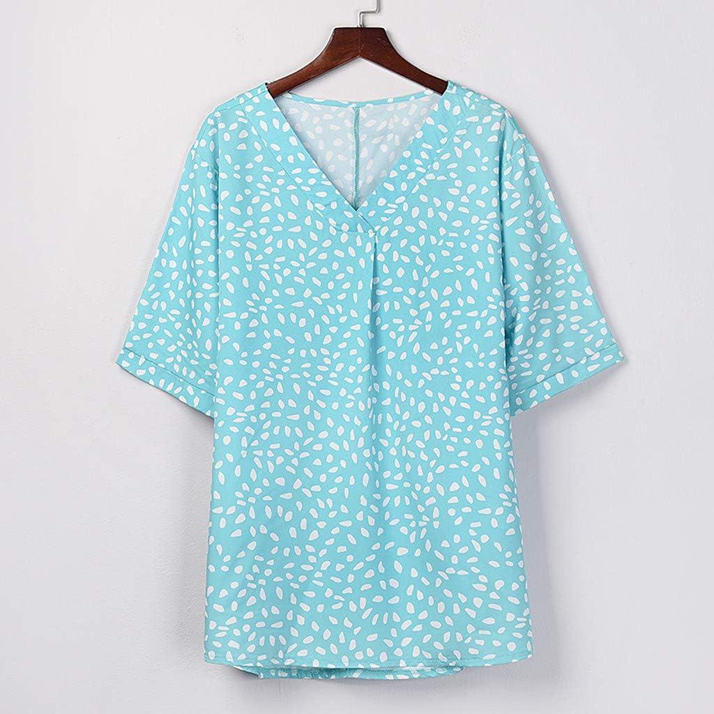 Teresamoon Women's Short Sleeve Print O Neck Shirts Tops Matte ...