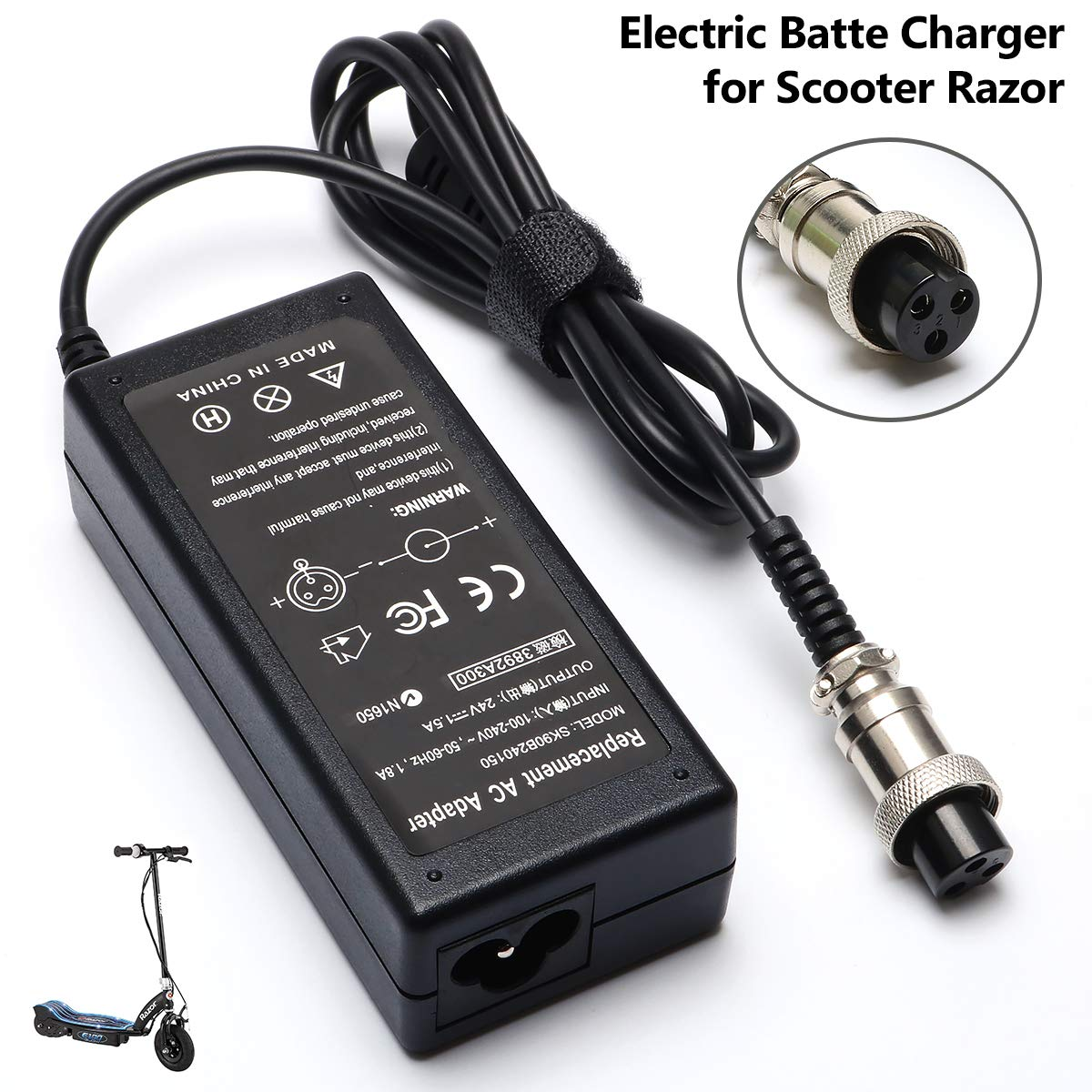 36W Electric Battery Charger for Scooter Razor E175 E100 E200 E200S ZR350 E300 Dirtbike E125 E150 E500 MX350 E225S E300S E325S MX400 PR200;Mini Chopper;Pocket Rocket;Sports Mod;Pocket Mod Cable by Janboo