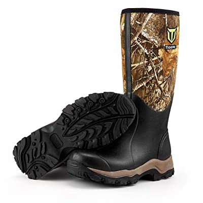 "TideWe Hunting Boot for Men, Insulated Waterproof Durable 16"" Men's Hunting Boot, 6mm Neoprene and Rubber Outdoor Boot Realtree Edge Camo(400Gram & Standard) 