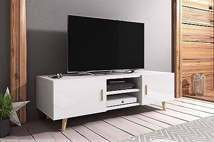 Rivano II – TV-Lowboard / TV-Bank / Fernsehschrank (140 cm, Weiß Matt /  Weiß Hochglanz, mit Beinen aus Buchenholz)