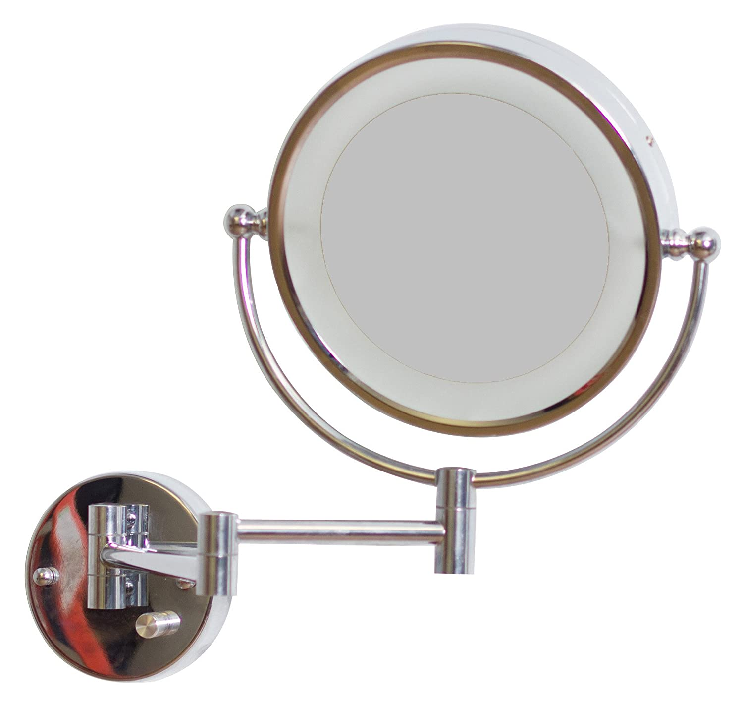 American Imaginations AI-14-557 Round LED Mirror with Light Dimmer and Dual 1x/5x Zoom, 8.5-Inch