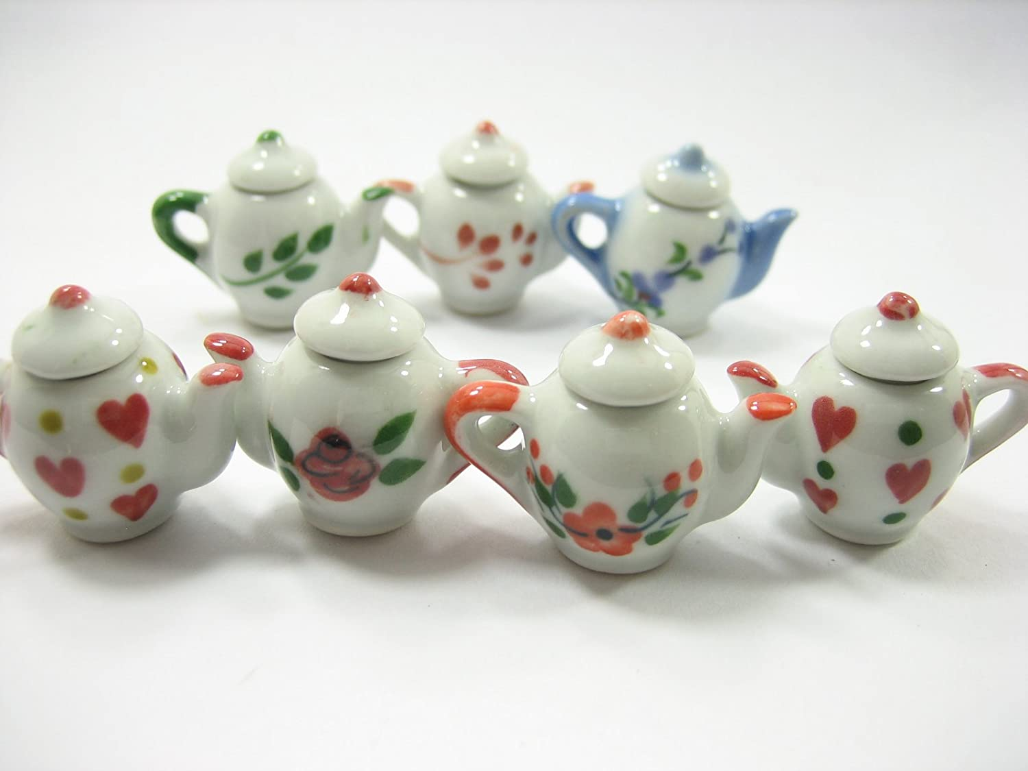 Set 7 Mixed Coffee Pot Teapot Assorted Paint Dollhouse Miniatures Ceramic 13239