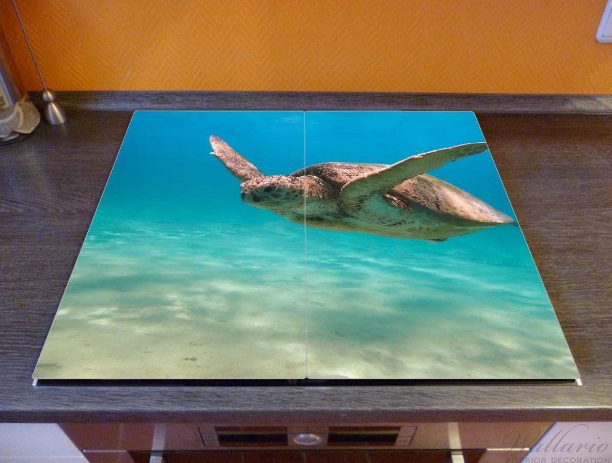 60x52cm 1-teilig f/ür Ceran- und Induktionsherde Wallario Herdabdeckplatte//Spritzschutz aus Glas Meeresschildkr/öte