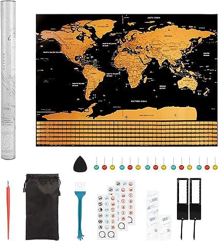 Mapa del Mundo para Rascar, Pulchram 58 * 43 cm Mapa Mundial del Rasguño con Banderas de todos los países, Con pegatinas + herramienta de rayado: Amazon.es: Oficina y papelería