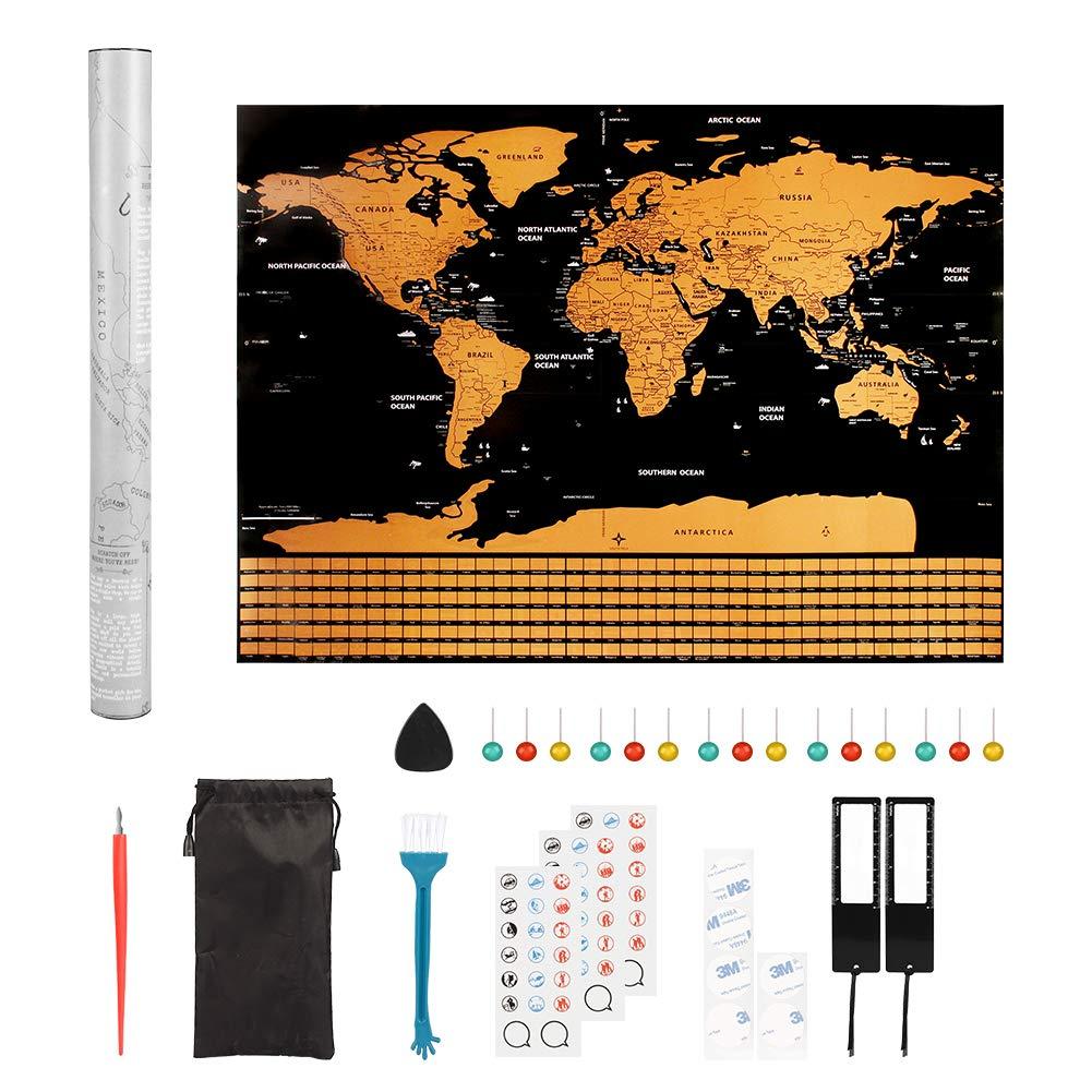 Mapa del Mundo para Rascar, Pulchram 82 * 59cm Mapa Mundial del Rasguño con Banderas de todos los países, Con pegatinas + herramienta de rayado: Amazon.es: ...