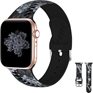iWabcertoo Floral Band Compatible with Apple Watch Band 38mm 40mm for Women/Men,Silicone Fadeless Pattern Printed Replacement Straps for iWatch Series SE &Series 6/5/4/3/2/1 Sport Edition