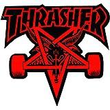 Thrasher Magazine Sticker Skate pentagramme de Chèvre Skateboard Rouge/Noir 9x 9x 10cm