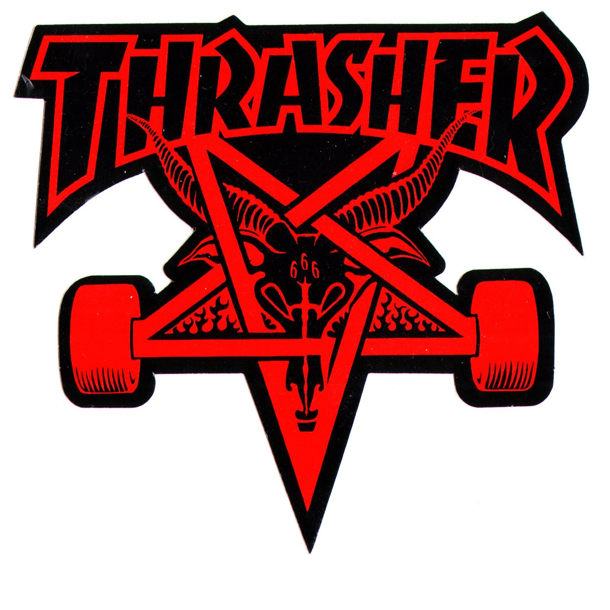 Thrasher magazine skate goat pentagram skateboard sticker 9 x 10cm red black amazon co uk sports outdoors