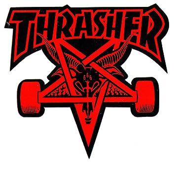 Thrasher Magazine Skate Goat Pentagram Skateboard Sticker 9 X 10cm Red Black