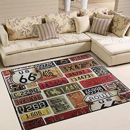 Amazon.com: Route 66 Area Rug Rugs Dining Room Home Bedroom ...