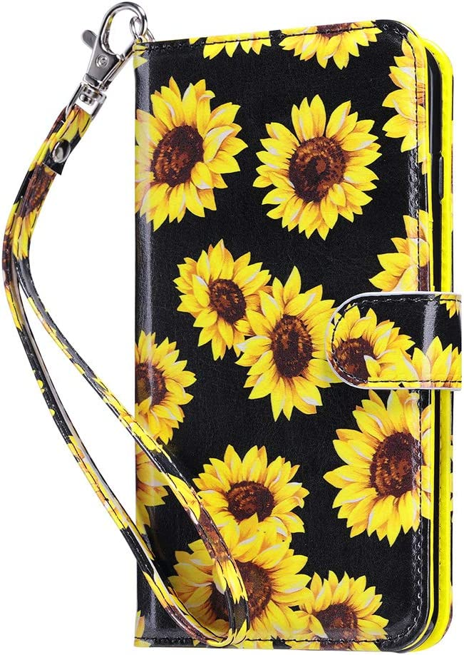 ULAK iPhone 8 Plus Case, iPhone 7 Plus Flip Wallet Case, PU Leather Wallet Case with Card Holders Kickstand Hand Strap Shockproof Protective Cover for Apple iPhone 7 Plus/8 Plus 5.5 Inch, Sunflower