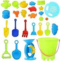 TOYANDONA 25 Pcs Beach Sand Toys Castle Bucket Shovel Tool Kit Sand Molds Sandbox Toys Summer Outdoor Beach Toys for…