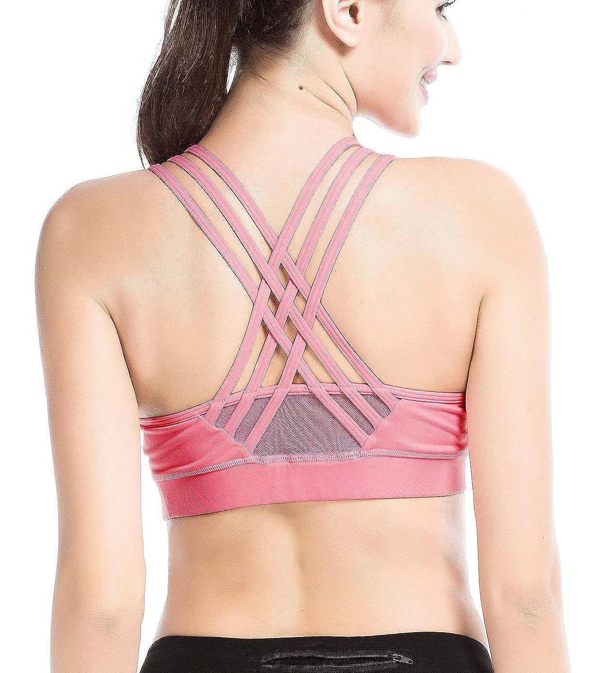 YIANNA Mujer Sujetador Deportivo Yoga Sin Costura Sin Aros Crop Top Deporte Fitness con Almohadillas Extraíbles
