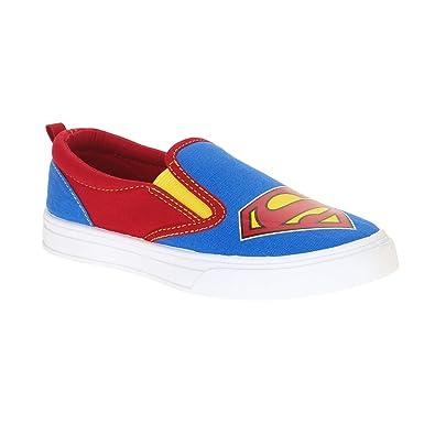 011417214aa266 Superman Boys  Canvas Slip On Casual Shoe (4 Big Kid) Blue