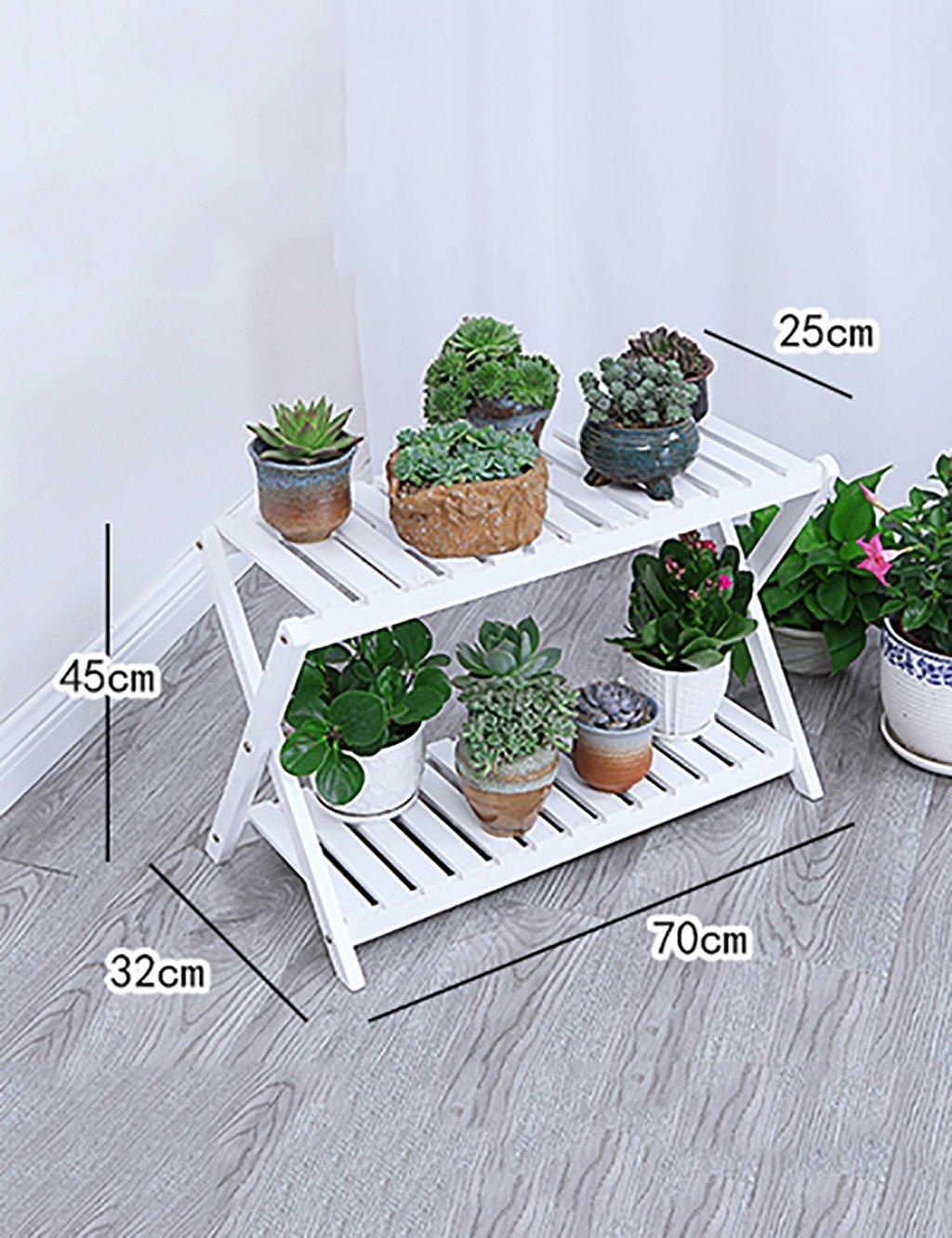 Massivholz Innen-Außenbereich Multilayer Blume Rack Wohnzimmer Blumen-Topf-Rahmen Boden Art Balkon Kleine Blume Rack ( farbe : L )