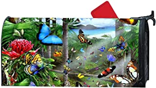 Gardening Songbirds Flowers Friends Magnetic Mailbox Cover, Weatherproof Vinyl Mail Wrap Mailbox Makeover Cover, Fits Standard 6.5' x 19' Mailboxes