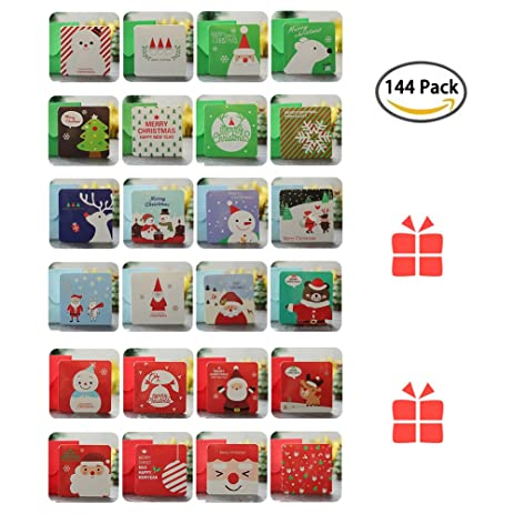 bluespace 144 christmas cards greeting gift holiday card set unique designs mini cute cards with envelopes