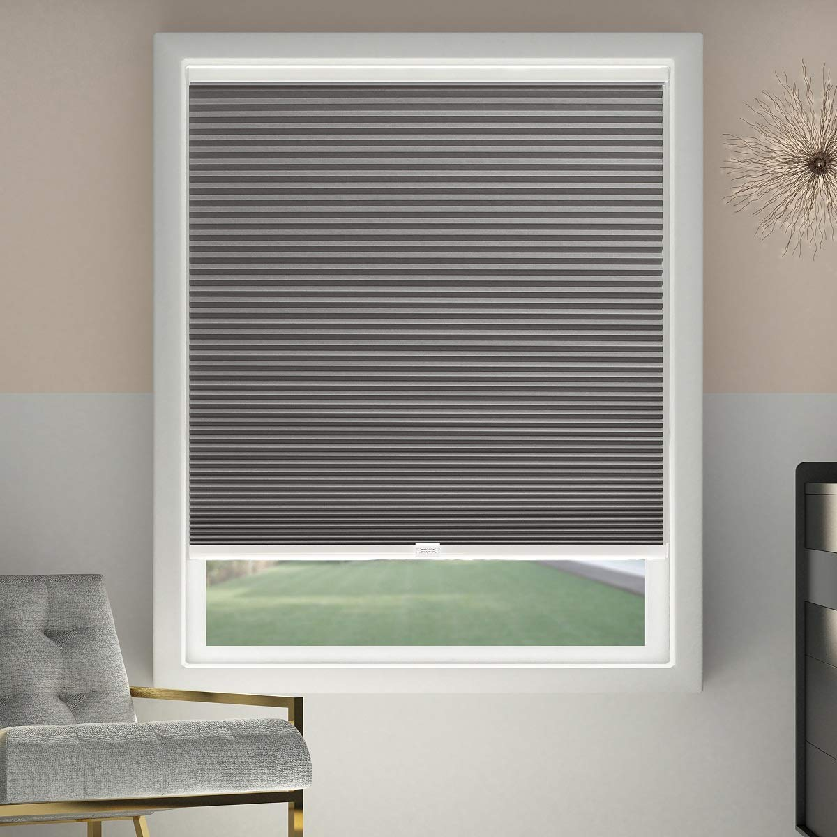 Sbartar Cellular Shades Cordless Blackout Honeycomb Blinds Fabric Window Shades 23x64 Inch Cool Silverblackout
