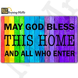 """MsMr Funny Doormat Welcome Mat Entrance Floor Mat Indoor/Outdoor/Kitchen Mat Non-Slip and Non-Woven Fabric 30""""x 18"""" - May God Bless This Home and All Who Enter"""