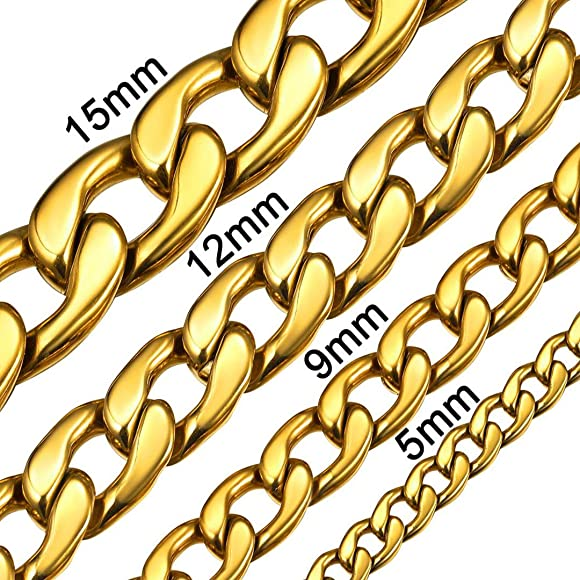 ChainsHouse Miami Cuban Link Chain 6MM-14MM Chunky Stainless Steel//18K Gold Plated Curb Necklace Jewelry for Mens Boys Womens 18-30 Send Gift Box