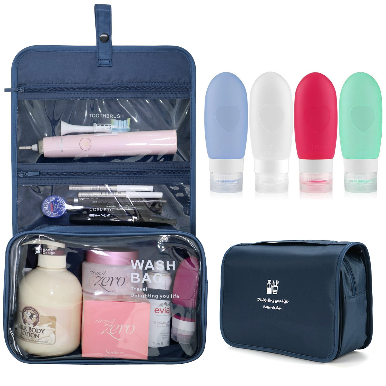 57841f08281f Xultrashine Hanging Travel Toiletry Bag with 4 Refillable Silicone ...