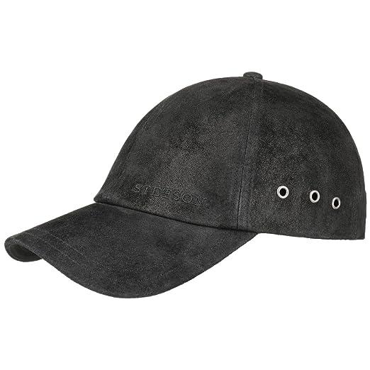 Stetson Men s Leather Baseball Cap (Black) at Amazon Men s Clothing ... 098878c569e9