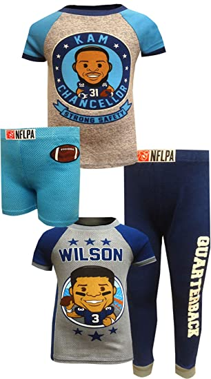 8f7146a18 Komar Kids Boys' NFLPA Kam Chancellor and Russell Wilson 4 Piece Pajama Set  (2T
