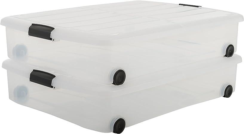 Iris Ohyama Lot De 2 Boites De Rangement Sous Lit Under Bed Box Cs U800 Plastique Transparent 50 L 75 X 56 X 15 7 Cm Amazon Fr Cuisine Maison