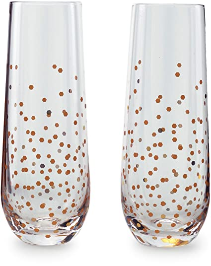 089431d69a9 Circleware 77095 Confetti Speckled Champagne Flutes Wine Glasses, Set of 2,  Entertainment Beverage Drinking