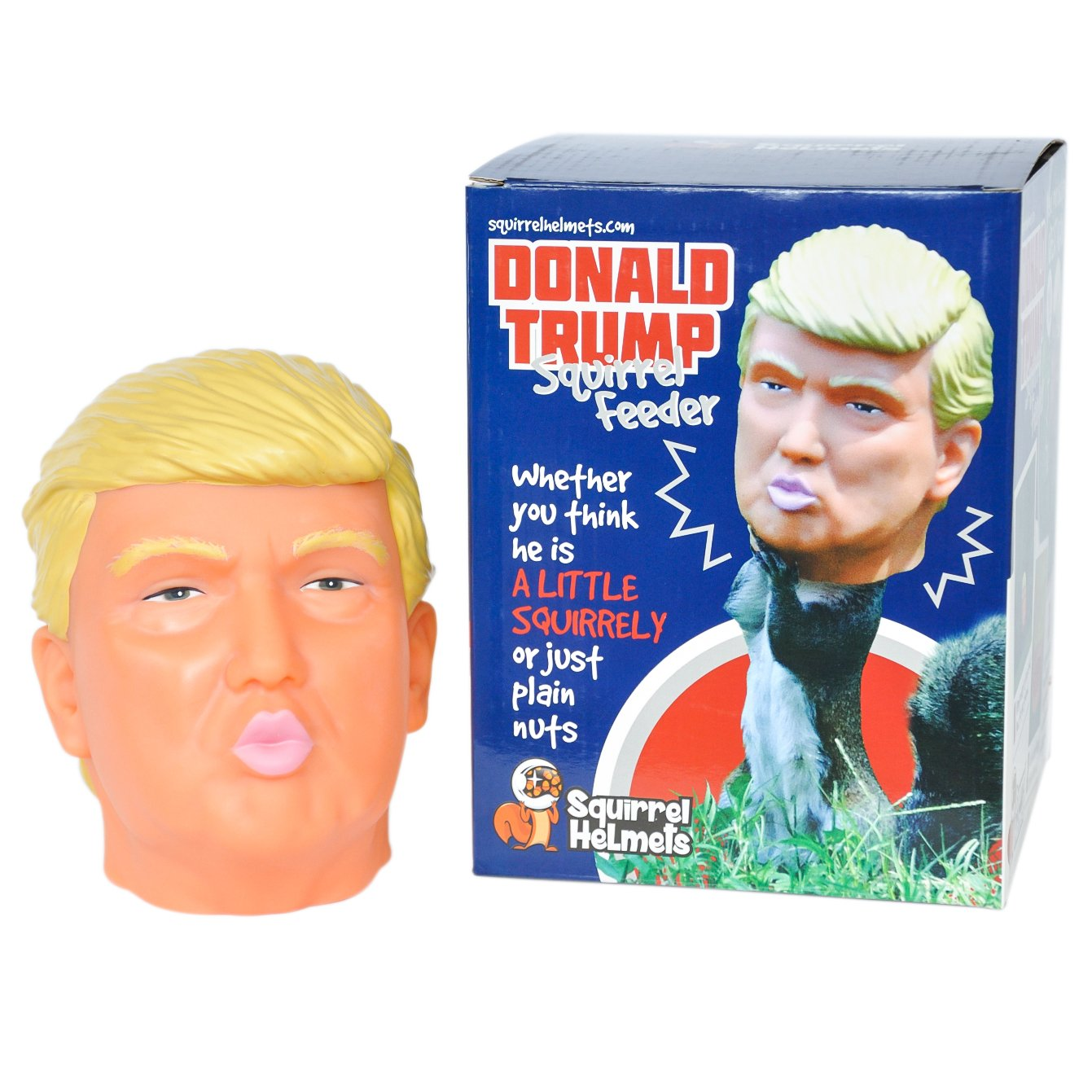 Donald Trump Squirrel Feeder, Keep Squirrels Away from the Bird Feeder and Entertaining You Instead by Squirrel Helmets