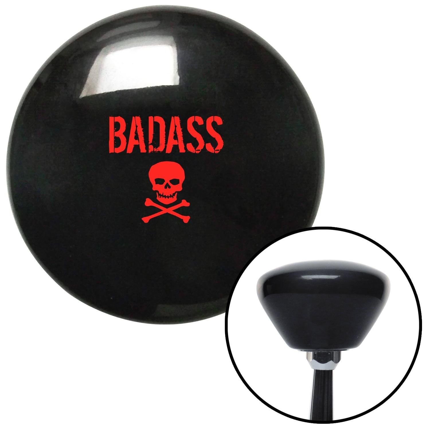 American Shifter 281743 Shift Knob Red Bad Ass Skull Black Retro with M16 x 1.5 Insert