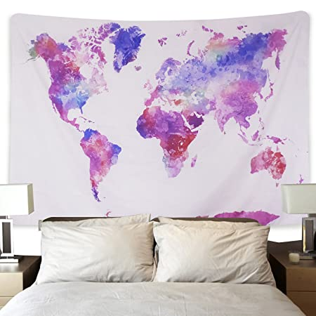 Watercolor world map tapestry colorful multi splatter abstract watercolor world map tapestry colorful multi splatter abstract painting tapestry wall hanging art for living room gumiabroncs Choice Image