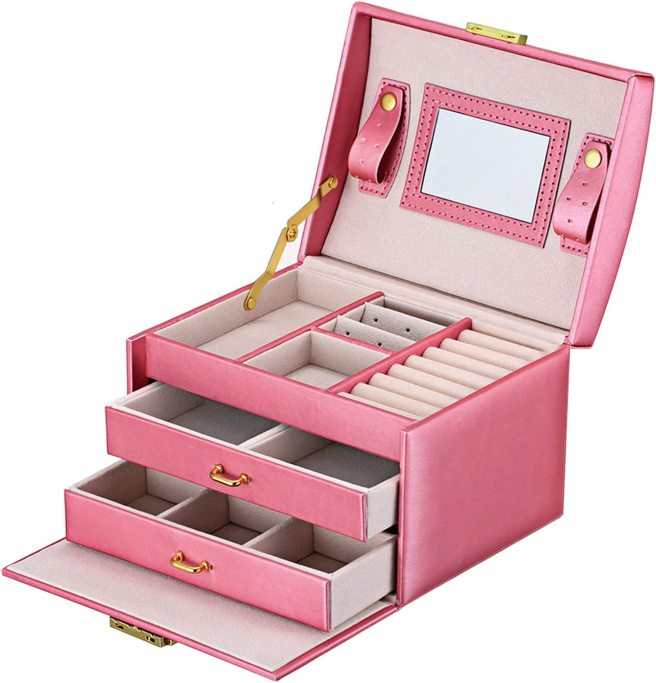 Amazon Com Goldwheat Jewelry Box Leather Earring Rings Organizer Mirrored Display Case Gift For Women Girls Lock And Key Pink Home Kitchen