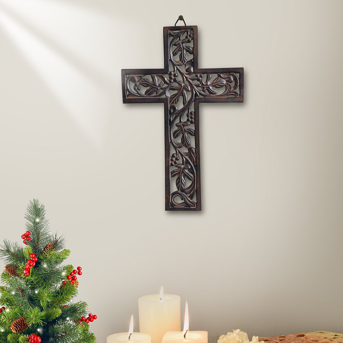 Wooden Cross with Handmade Floral Carving French Plaque for Living Room Home Decor Accessories