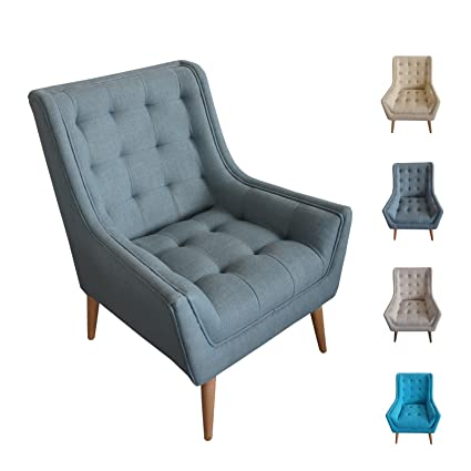 grey blue mid century mordern tufted wingback chair indoor decorative upholstered fabric accent chair with - Tufted Wingback Chair