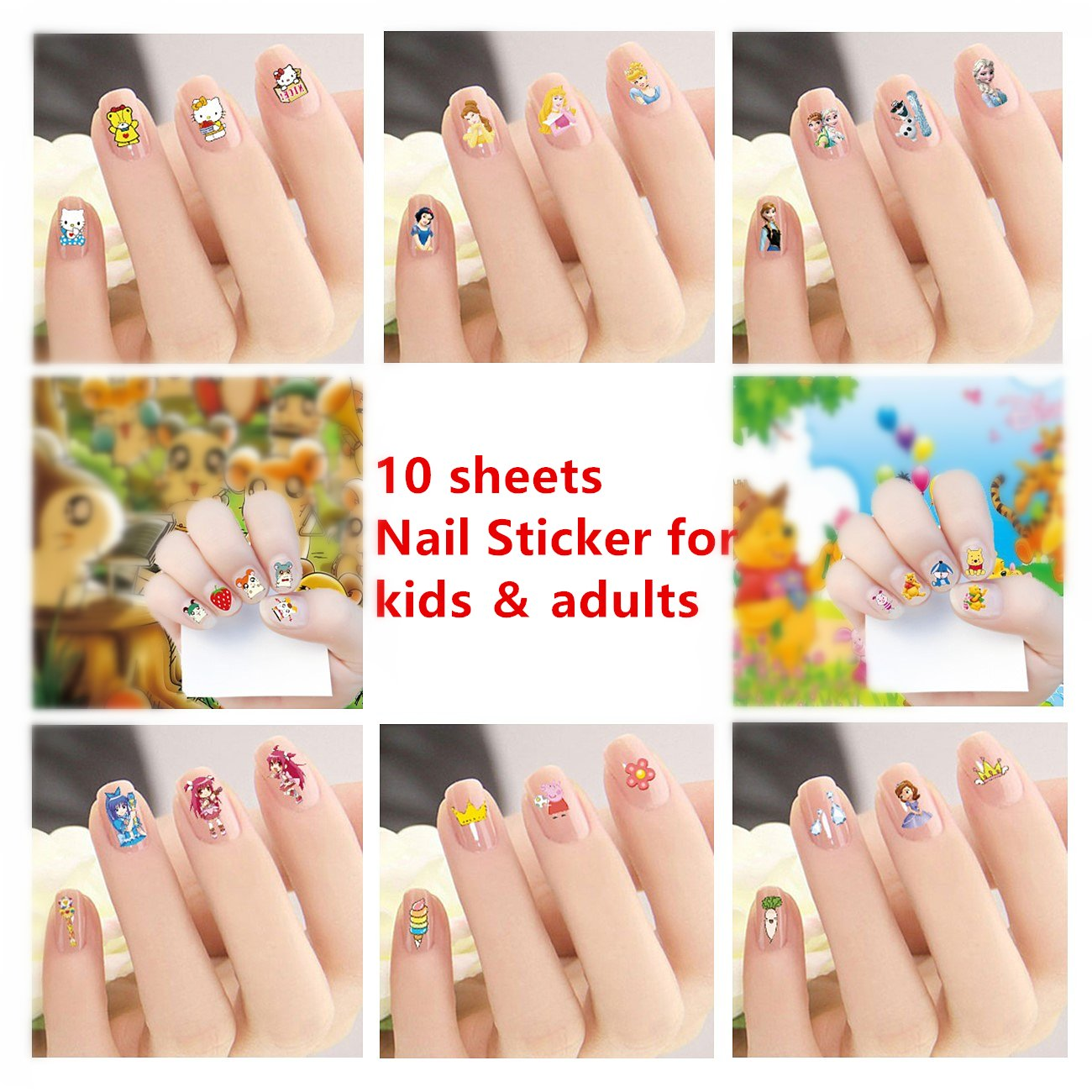 6 Sheets Waterproof Nail Stickers 3D Art Nail Sticker for Women Nail Art Transfer Decals Sticker Glitter Series DIY Nail Polish Strips Wraps for Party (style2)