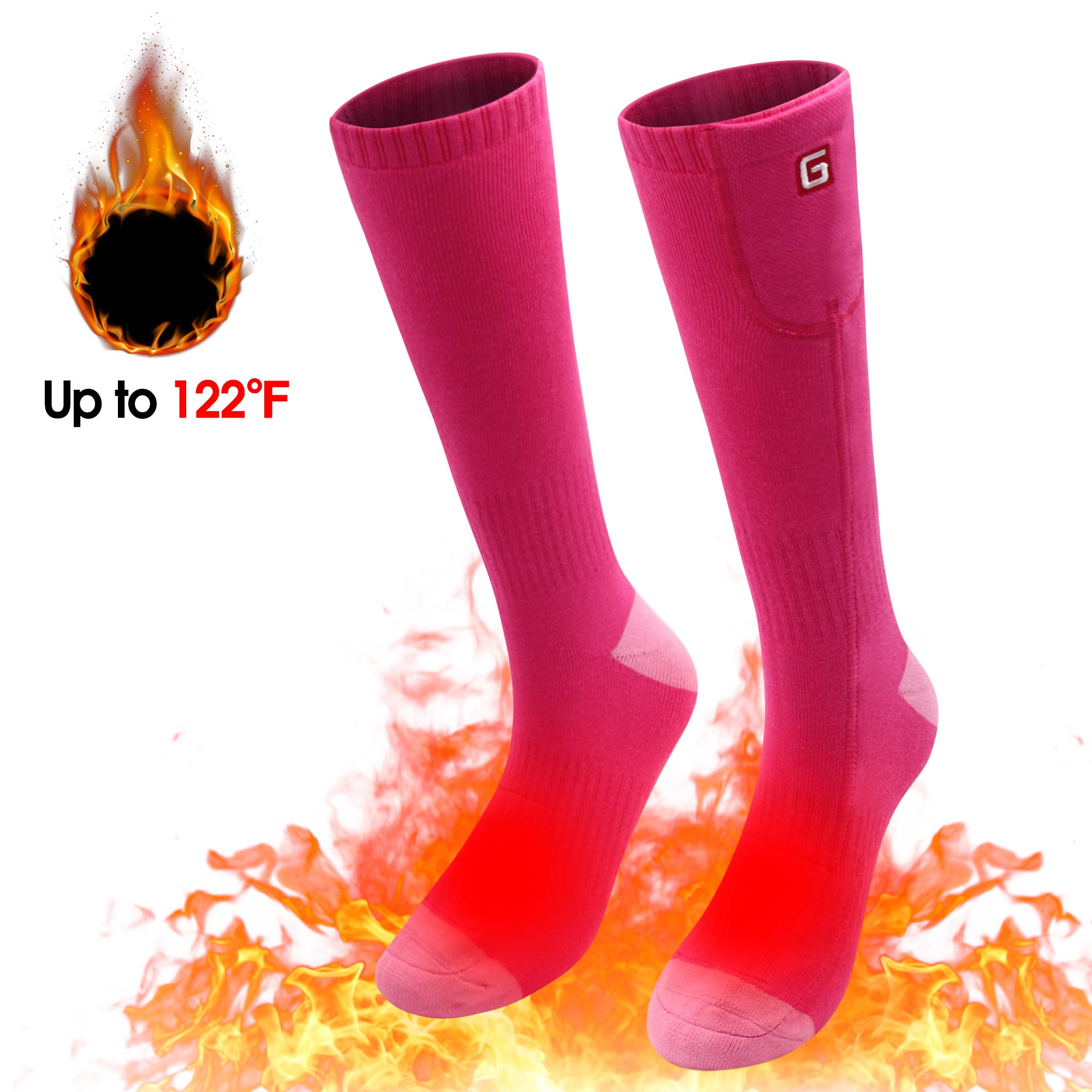 Spring Electric Rechargeable Battery Heating Socks for Men Women,Winter Ski Hunting Camping Hiking Climbing Riding Motorcycle Warm Feet Warmers and Waterpoof Socks (Pink) by SPRING SHOP
