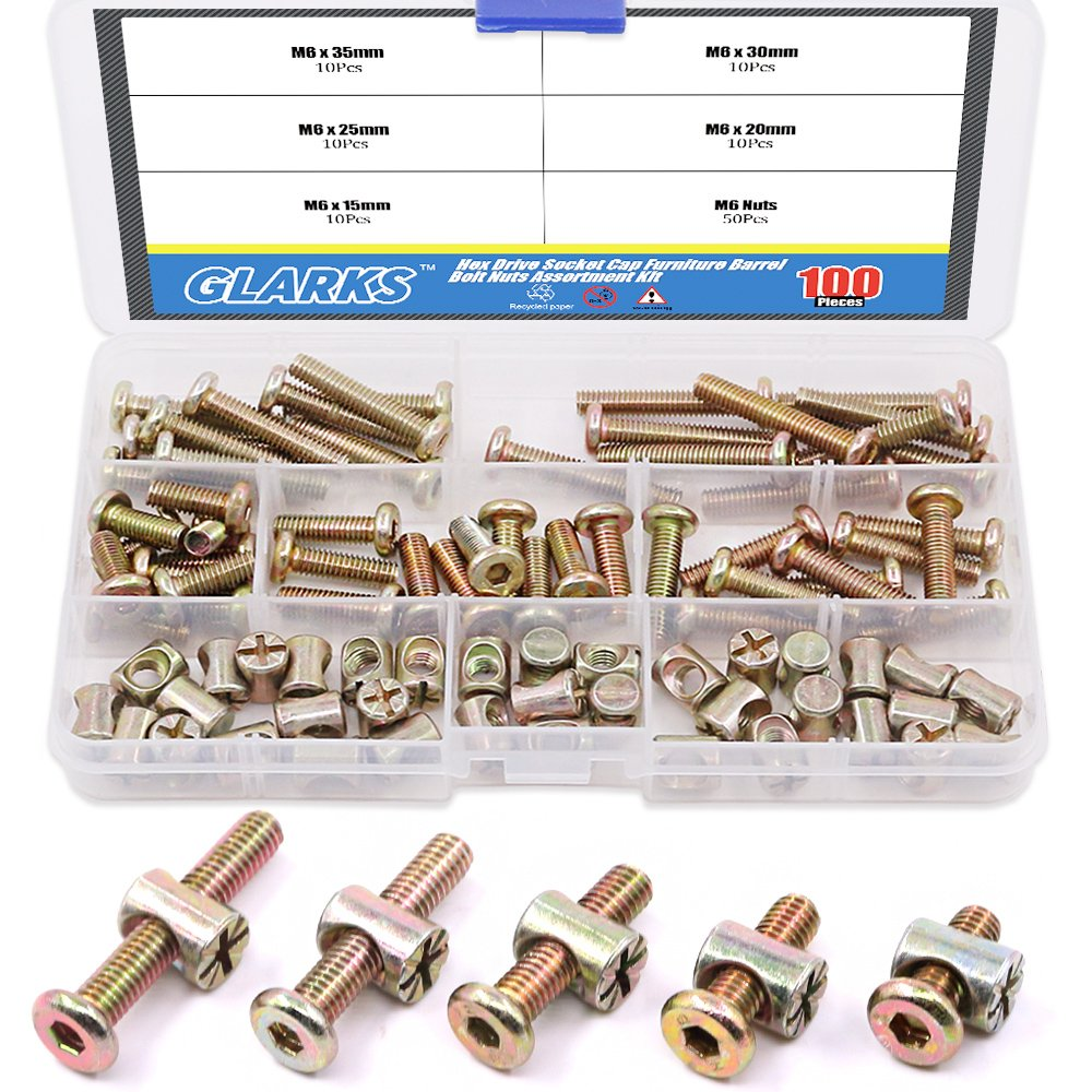 Glarks 100Pcs Zinc Plated M6 Hex Socket Head Cap Screws Bolts and Barrel Nuts Assortment Kit for Furniture Beds Crib Chairs